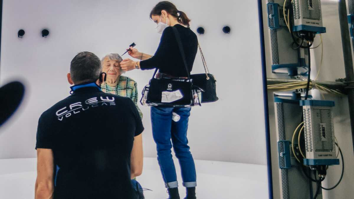 Margot Friedländer at Volucap Studio in Babelsberg to create 3D avatar of her.
